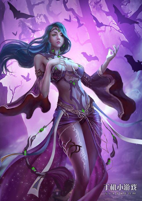 冰紫色手绘动漫女生