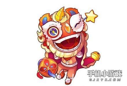 春节舞狮简笔画彩色