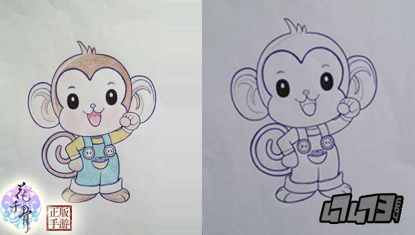 猴子吉祥物手绘